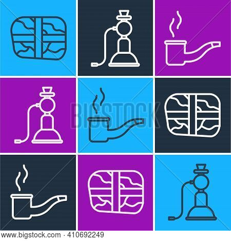 Set Line Package With Cocaine, Smoking Pipe And Hookah Icon. Vector