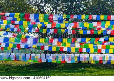 Colorful Prayer Flags. Tibetan Prayer Flags With Buddhist Scripts.