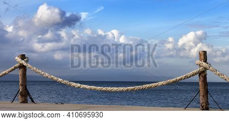 Panoramic View On Seafront And Sky With Sunlight Clouds In Autumn Evening. Turkey, Erdek, Coast Of M
