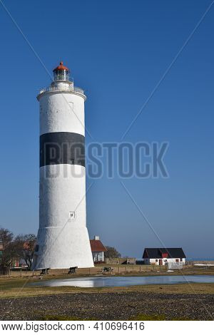 The Swedish Lighthouse Lange Jan On The Island Oland In Early Springtime