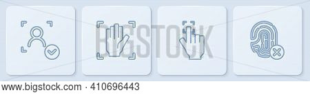 Set Line Face Recognition, Fingerprint, Palm And Rejection Fingerprint. White Square Button. Vector