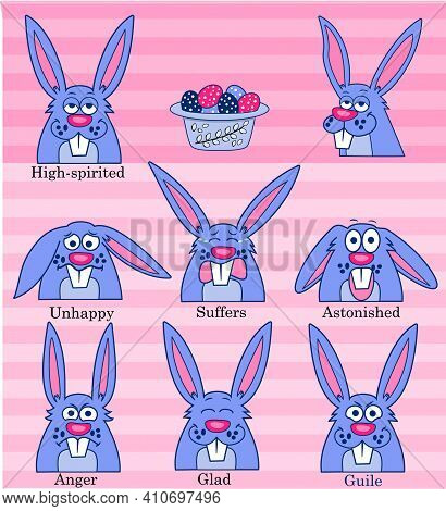 Vector Set Of Easter Rabbit With Different Emotions. Map Of Emotions