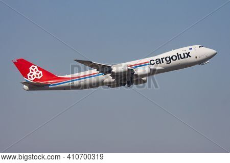 Hong Kong, China - December 1, 2013: Cargolux Boeing 747-8 Lx-vch Cargo Plane Departure And Take Off