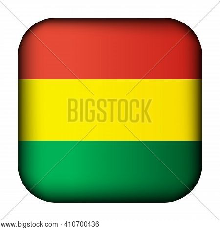 Glass Light Ball With Flag Of Bolivia. Squared Template Icon. National Symbol. Glossy Realistic Cube