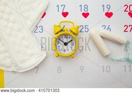 Sanitary Pads, Menstrual Period Calendar And Clocks. Menstruation Period Pain Protection. Feminine H