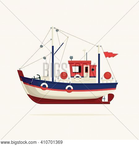 Color Image Of A Fishing Vessel, Trawler Or Ship Tug On A Light Background. Decorative Vector Illust