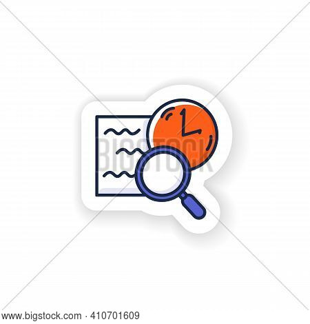 Comprehension Sticker Icon. Slow Reading With Magnifier And Clock Linear Pictogram Badge For Designs