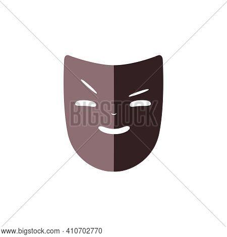 Flat Icon Of Villain Theater Mask Vector Illustration