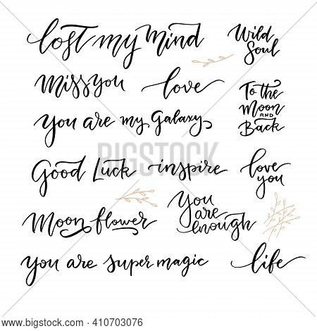 Female Freedomand Love Quote Lettering Set. Calligraphy Inspiration Graphic Design Typography Elemen