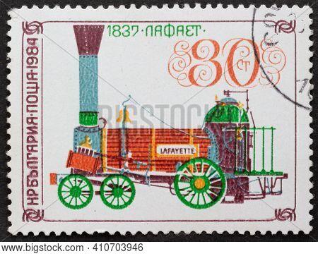 Republic Of Bulgaria - Circa 1984: Postage Stamp Locomotive Of Lafayette, 1837 Printed In Republic O