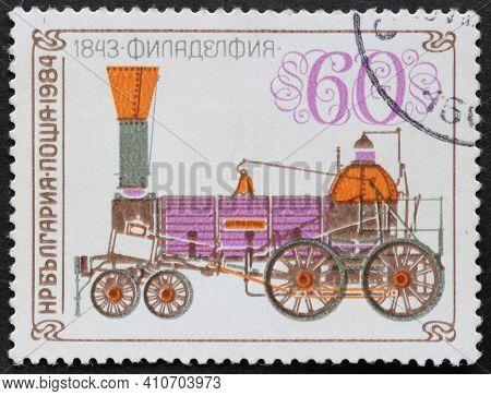 Republic Of Bulgaria - Circa 1984: Postage Stamp Locomotive Of Philadelphia, 1843 Printed In Republi