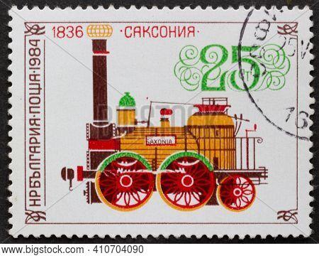 Republic Of Bulgaria - Circa 1984: Postage Stamp Locomotive Of Saxonia, 1836 Printed In Republic Of