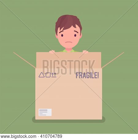 Inside The Box, Child Of Standard, Normal Or Average Thinking. Little Boy Hiding In A Cardboard Cont