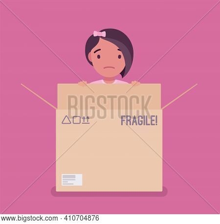 Inside The Box, Child Of Standard, Normal Or Average Thinking. Little Girl Hiding In A Cardboard Con