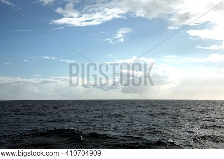 Ocean And The Sea With Clouds In Nature Outdoors.