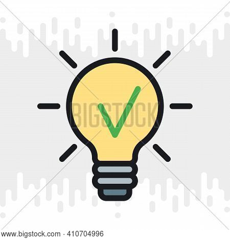 Business Idea Concept Icon. Light Bulb With A Checkmark Inside. Simple Color Version On A Light Gray