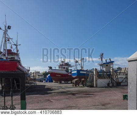 Puerto De Mogan, Gran Canaria, Canary Islands, Spain December 18, 2020: View Of Dry Dock Where Ships