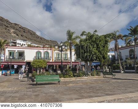 Puerto De Mogan, Gran Canaria, Canary Islands, Spain December 18, 2020: Traditional Colorful Houses