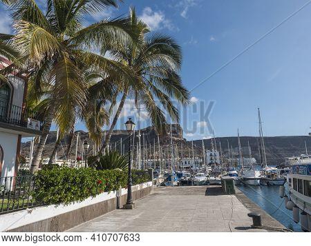 Puerto De Mogan, Gran Canaria, Canary Islands, Spain December 18, 2020: Marina With Sailing Ships An