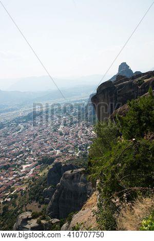 Beautiful Panoramic View Of Kalambaka City And Meteora Mountains