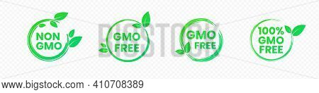 Non Gmo And Gmo Free Badges In Bright Green Color With Leaves Icons. Round Eco Friendly Emblems For