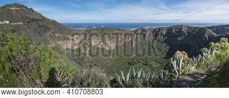 Panoramic View Of Volcanic Landscape Of Caldera De Bandama Crater And Pico De Bandama With Circular