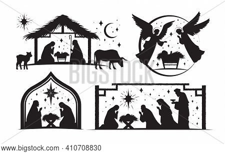 Set Of Four Silhouetted Nativity Scenes For Christmas Showing Joseph And Mary, Wise Men And Angels A