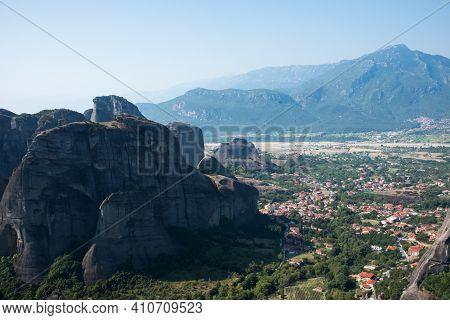 Beautiful Paranoramic View Of Kalambaka And Meteora Mountains