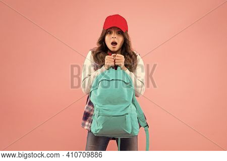 No Way. Carrying Things In Backpack. Learn How Fit Backpack Correctly. Girl Little Fashionable Kid C