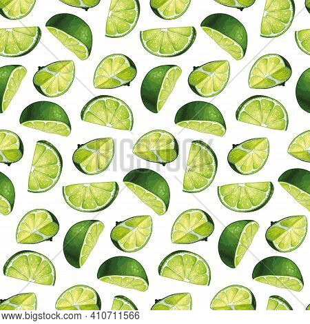 Seamless Pattern Design With Hand Drawn Hight Quality Lime Illustrations