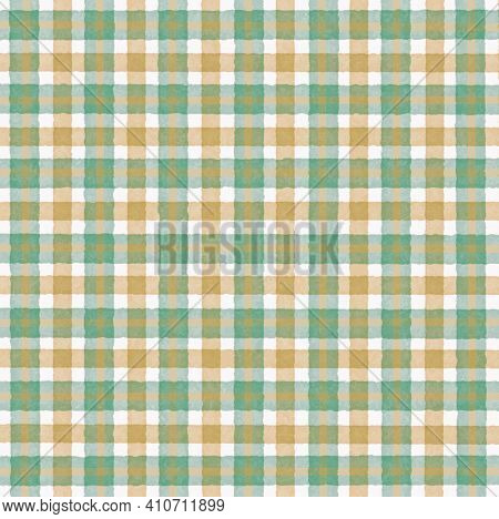 Green Beige Brown Vintage Checkered Background With Blur, Gradient And Grunge Texture. Classic Check