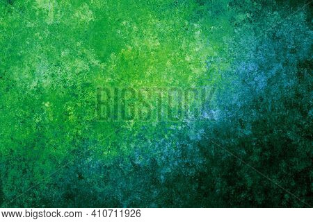 Green Blue Turquoise Yellow Antique Old Background With Blur, Gradient And Watercolor Texture. Space
