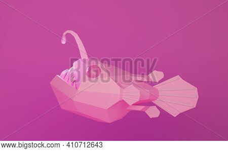 Low Poly Pink Angry Deep-sea Angler Fish With Sharp Teeth, 3d Illustration