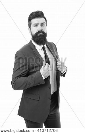 Modern Businessman Ofiice Worker. Office Life Concept. He Knows Who Is Boss Here. Bearded Man Confid