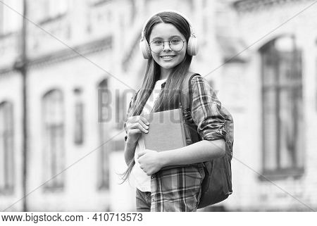 Learn Language When Travel. Happy Kid Wear Headphones. Learning Foreign Language. English School. Au