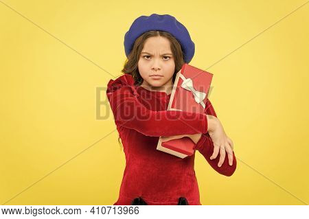 Not Give It Up. Mischievous Stylish Teen Girl In French Beret Hold Present Box. Parisian Kid With Gi