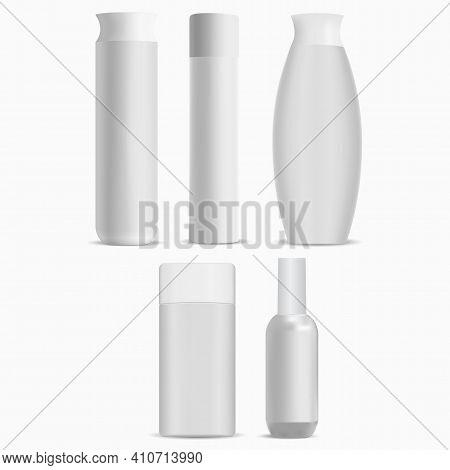 Cosmetic Bottle Package Mockup, White Pack. Shampoo Bottle Luxury Blank Template. Hygiene Heathcare
