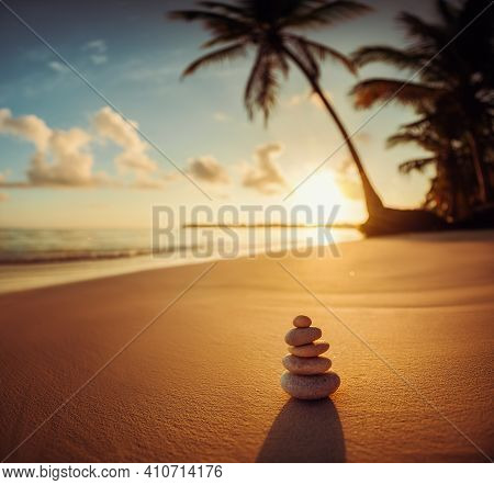 Stones Balance On Beach, Sunrise Nature Background Hdr Image