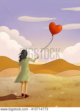 Young girl releasing an heart-shaped balloon. Digital illustration