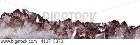 dark brown Smoky quartz crystals isolated on white background