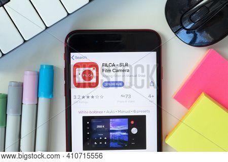 New York, Usa - 2 March 2021: Filca - Slr Film Camera Mobile App Icon On Phone Screen, Illustrative