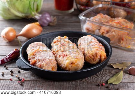 Stock Food, Frozen Cabbage Roll. Preparation Of Semi-finished Products. Traditional Dish. Frozen Foo