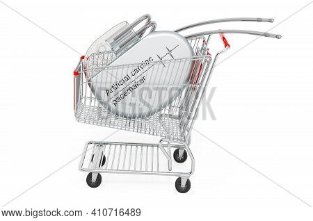 Shopping Cart With Artificial Cardiac Pacemaker. 3d Rendering Isolated On White Background