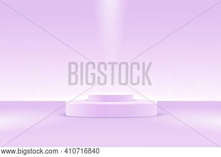 A Two-stage Catwalk Stage, Or A Platform For A Minimalist Pastel Lilac Background, Sparkles With Glo