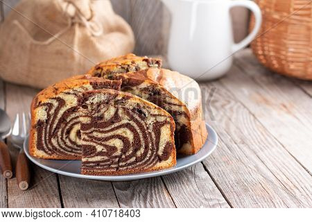 Homemade Marble Cake Chocolate. Chocolate Vanilla Zebra Pie. Sweet Pastries. Simple Homemade Food. P
