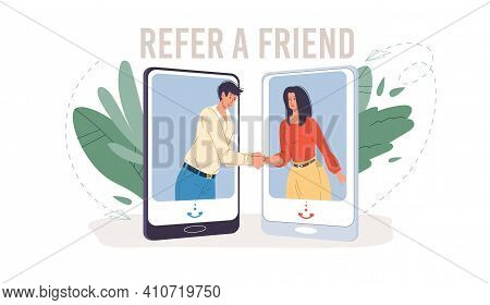 Cartoon Flat Characters Get Acquainted In Refer A Friend Service.happy Young People Shaking Hands In