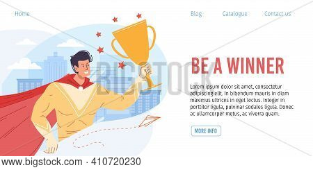Vector Cartoon Flat Superhero Character Holds Metaphor Of Successful Business Gold Cup-goal Achievme