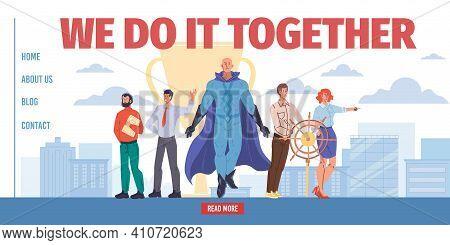 Vector Cartoon Flat Superhero Character Leads Team Of Successful Business Employees-teamwork, Mass P