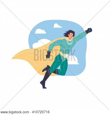 Vector Cartoon Flat Superhero Character In Cape Fly In Sky - Web Online Site Banner, Mass Pop Cultur