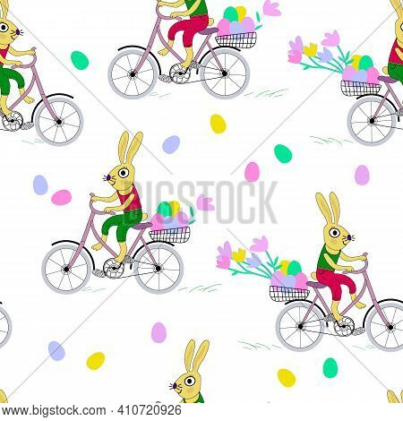 Vector Seamless Pattern Isolated On White Background. Easter Rabbits Rides A Bike And Carries Easter